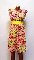 Платье Цветы приталенное фриз-розовое