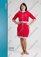 Женский велюровый халат на молнии и стяжке  S M L XL