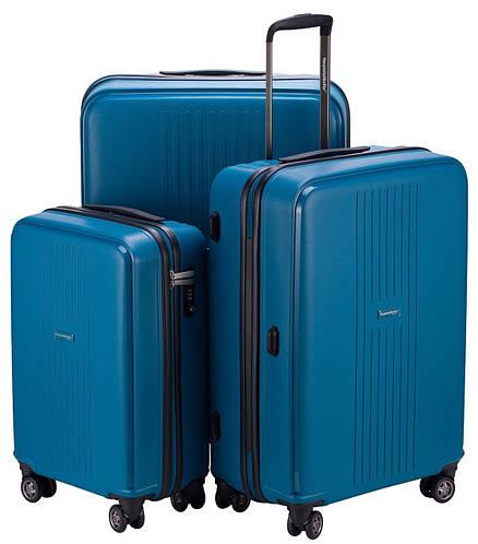 Надежный комфортный 4-колесный набор чемоданов из пластика HAUPTSTADTKOFFER fhain set blue синий