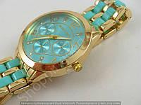 Часы Michael Kors 013725 женские золотистые с бирюзовыми вставками металлический браслет