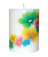 Свеча декоративная яркие цветы d -6  h-8 cm