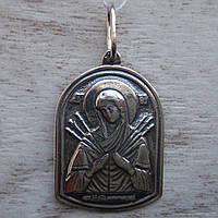 Серебряная подвеска-ладанка Икона Божией Матери Семистрельная