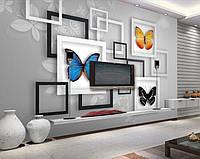 """Оригинальные 3D фотообои """"Цветные бабочки в рамке"""""""