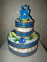 Подарок маме на рождение мальчика - торт из памперсов (подгузников)