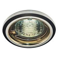 """Светильник галогенный """"Аluminium"""" DL1019 MR16/50W/12V G5.3 блестящий и черный алюминий, золото 75*25mm, Feron"""