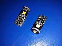 Лампа светодиодная LED 12V T10 3SMD 2835 Белый (10712) Габариты, подсветка номера, подсветка салона, подсветка
