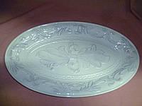 Блюдо керамическое с цветами 41х24 см