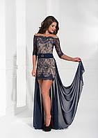 Модное вечерние платье с прицепным хвостом