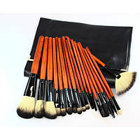 Набор натуральных кистей для макияжа 18 шт - Make Up Me YG-18 Черный