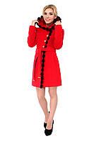 Зимнее женское кашемировое пальто с мехом норки, красное