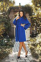 Элегантное кашемировое женское пальто с отложным воротником под пояс длина до колена