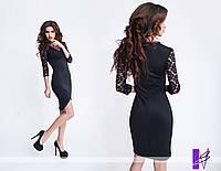 Ю776 Платье прилегающего силуэта Черный