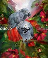 """Алмазная вышивка """"Папуги и красные цветы"""""""