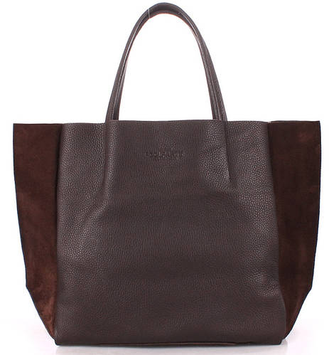 Вместительна женская кожаная сумка POOLPARTY soho-brown-velour
