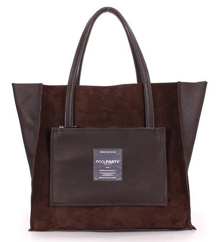 Элегантная женская кожаная сумка POOLPARTY soho-insideout-brown-velour
