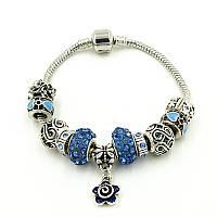 "Браслет  Pandora (пандора) ""Цветок серебро голубой камень"" P032"