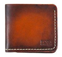 Мужской кошелёк из итальянской кожи Bogz Mini A3 Tan - Beige