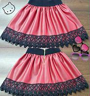 Детская стильная супер-модная красная юбка из эко кожи+кружево. Арт-1526