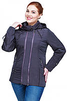 Отличная весенняя куртка большого размера утепленная с капюшоном