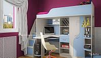 Кровать чердак ( стол, тумба,шкаф, лестница,защита)