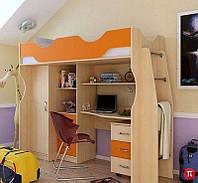Кровать чердак (стол,лестница,шкаф,защита, полки, тумба)