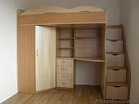 Кровать чердак (ЛДСП 16 мм,ПВХ 2мм, раб.место,ступеньки-комод)