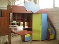 Кровать чердак(ЛДСП 16 мм, ПВХ 2мм, лестница-комод,раб.место,шкаф,полочки)