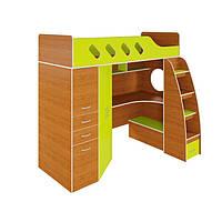 Кровать чердак (ЛДСП 16 мм, ПВХ 2 мм,раб.место,шкаф,полки,лестница-комод)