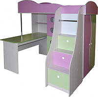 Кровать чердак ( ЛДСП 16 мм, ПВХ 2 мм,раб.место, лестница-комод,защита)