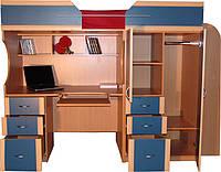 Кровать чердак ( ЛДСП,16 мм,ПВХ 2мм,шкаф,стол,тумба)