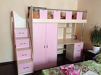 Кровать чердак (лестница-комод,шкаф,стол,тумба)