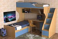 Кровать чердак на два спальных места ( защита, лестница-комод,полки, стол)