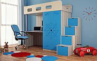 Кровать чердак ( защита,стол,шкаф,лесенка-шкаф)