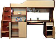 Кровать- чердак (лестница-комод,тумбочка,полки, стол)