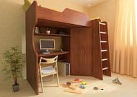 Кровать чердак (стол, полки,лестница,шкаф,)