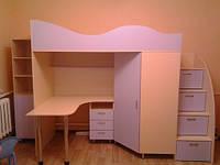 Кровать чердак (стол,тумба, лестница-комод,шкаф)