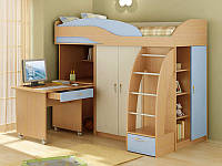 Кровать чердак ( ЛДСП, ПВХ,лестница,шкаф, стол)