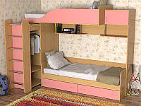 Кровать двухъярусная (ЛДСП,ПВХ,2 спальных места,лестница, шкаф)
