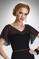 Женская нарядная блуза черного цвета с коротким рукавом. Модель Karolina Eldar, весна-лето 2016