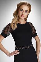 Женская нарядная блуза черного цвета с коротким рукавом. Модель Luana Eldar, весна-лето 2016