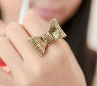 Кольцо Бантик золотой блеск  / бижутерия/ размер регулируется/ цвет бронза