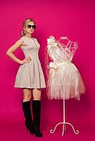 Женское стильное платье без рукавов бежевого цвета р.42,44,46,48 трикотаж