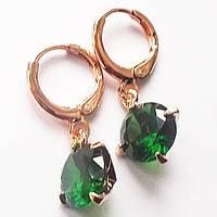 Серьги, круглый (зеленый) цирконий. Ювелирная бижутерия, позолота 18К.