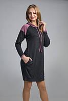 Женская туника свободного кроя темно-серая, фото 1