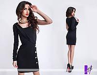 Ю771 Платье с одним рукавом Черный