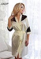Атласный халат с кружевной спиной АЖУР FLEUR Lingerie