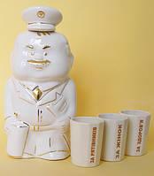 Подарочный набор из фарфора штоф (графин) Пожарник и 3 стакан гранёных