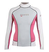 Женская лайкровая футболка для плавания Mares Rash Guard (Trilastic), длинный рукав, розовая