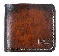 Мужское портмоне Bogz из итальянской кожи Mini A5 Dark Brown - Beige