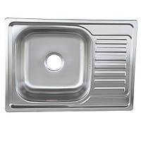 Нержавеющая кухонная врезная мойка 69*50 см Platinum сатин 0,8 мм глубиной 18 см